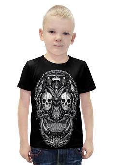 """Футболка с полной запечаткой для мальчиков """"Skull Art"""" - skull, череп, skeleton, скелет, арт дизайн"""