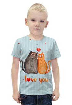"""Футболка с полной запечаткой для мальчиков """"Влюбленные коты. Парные футболки."""" - 14 февраля, коты, парные, i love you"""