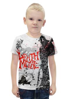 """Футболка с полной запечаткой для мальчиков """"Death Metal (Смерть)"""" - череп, metal, скелет, смерть, металл"""