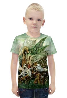 """Футболка с полной запечаткой для мальчиков """"На ветвях Дракона"""" - арт, авторские майки, дракон, зеленый, фантазия"""