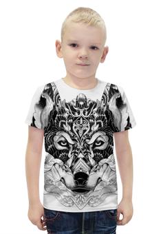 """Футболка с полной запечаткой для мальчиков """"Волк """" - арт, волк, wolf, чёрное и белое"""