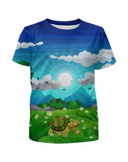 """Футболка с полной запечаткой для мальчиков """"Черепаха на лугу"""" - животные, небо, природа, черепаха, луг"""