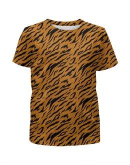 """Футболка с полной запечаткой для мальчиков """"Тигриный окрас"""" - животные, природа, тигр, фактура, полоски"""