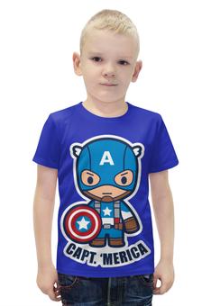 """Футболка с полной запечаткой для мальчиков """"Капитан Америка"""" - капитан америка, captain america, стивен роджерс"""