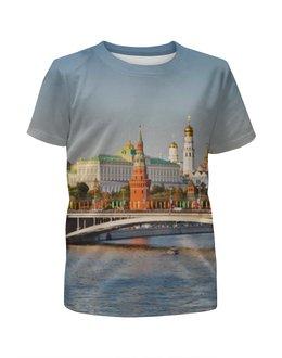 """Футболка с полной запечаткой для мальчиков """"Moscow"""" - москва, moscow, город, россия, мост"""