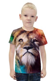 """Футболка с полной запечаткой для мальчиков """"Царь зверей"""" - лев, краски, царь зверей, грива"""