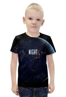 """Футболка с полной запечаткой для мальчиков """"NIGHT"""" - фраза, планета, космос"""