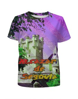 """Футболка с полной запечаткой для мальчиков """"Замки Испании.Крепость Сеговия."""" - фиолетовый, испания, замок, полоски, крепость"""