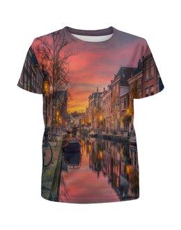 """Футболка с полной запечаткой для мальчиков """"Венеция"""" - венеция, улица, город, пейзаж, лодка"""