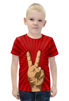 """Футболка с полной запечаткой для мальчиков """"Всё Peace DATA"""" - прикол, рука, окей, ok, жест"""