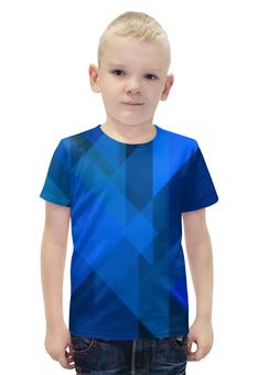 """Футболка с полной запечаткой для мальчиков """"Синий абстрактный"""" - графика, синий, краски, абстракция, треугольники"""