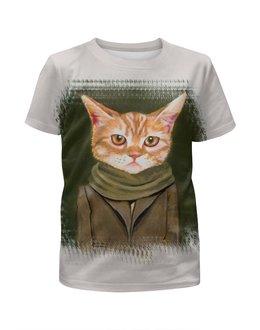 """Футболка с полной запечаткой для мальчиков """"Кот в пальто"""" - кот, прикол, юмор, cat, одежда"""