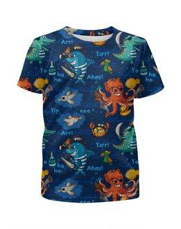 """Футболка с полной запечаткой для мальчиков """"Пират"""" - животные, море, осьминог, пират, акула"""