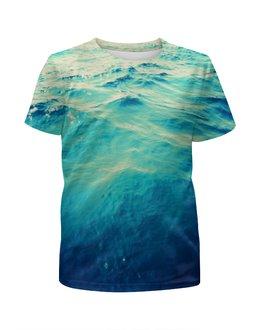 """Футболка с полной запечаткой для мальчиков """"Морская вода"""" - лето, море, вода, волны, голубая вода"""