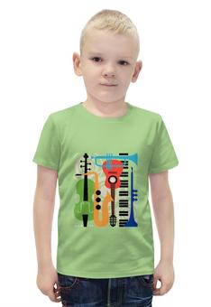 """Футболка с полной запечаткой для мальчиков """"Музыкальные инструменты"""" - музыка, гитара, скрипка, инструменты, саксафон"""