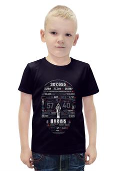 """Футболка с полной запечаткой для мальчиков """"Абстракция"""" - череп, пистолет, цифры"""