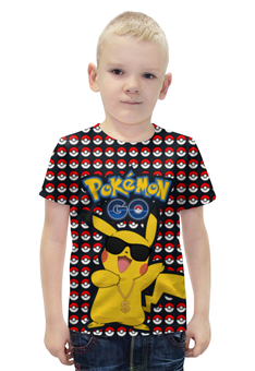 """Футболка с полной запечаткой для мальчиков """"Pokemon GO"""" - игра, покемон, пикачу, доллар, pikachu"""