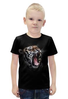 """Футболка с полной запечаткой для мальчиков """"Ревущий тигр"""" - тигр кошка животные природа"""