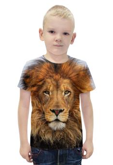 """Футболка с полной запечаткой для мальчиков """"Лев - Царь Зверей"""" - кот, хищник, лев, зверь, морда"""