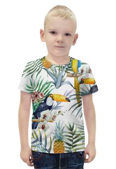 """Футболка с полной запечаткой для мальчиков """"Пеликан и ананасы"""" - красиво, птица, природа, ананас, пеликан"""