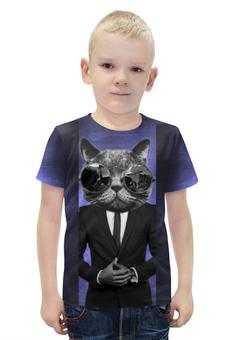 """Футболка с полной запечаткой для мальчиков """"Усач в очках"""" - кот, костюм"""