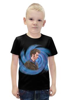 """Футболка с полной запечаткой для мальчиков """"Десятый Доктор (Tenth 10th Doctor) Вортекс"""" - doctor who, david tennant, доктор кто, десятый доктор, дэвид теннант"""