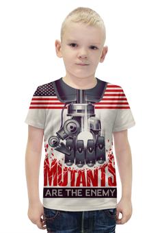 """Футболка с полной запечаткой для мальчиков """"Мутанты"""" - надпись, рука, робот, флаг, железо"""