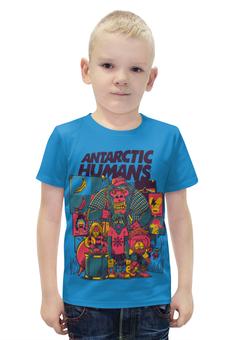 """Футболка с полной запечаткой для мальчиков """"Antarctic Humans"""" - животные, обезьяна, рок музыка, рок группа, арт прикол"""