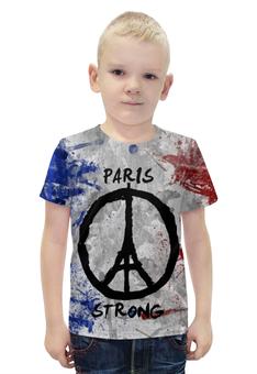 """Футболка с полной запечаткой для мальчиков """"Мир Парижу (Peace for Paris)"""" - эйфелева башня, мир парижу, peace for paris, paix pour paris, париж сильный"""
