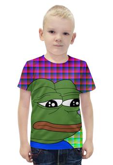"""Футболка с полной запечаткой для мальчиков """"SAD FROG"""" - юмор, мем, мульт, грустная лягушка, sad frog"""