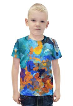 """Футболка с полной запечаткой для мальчиков """"""""Застывшие яркие краски"""""""" - оранжевый, голубой, разноцветный, художник, пестрый"""