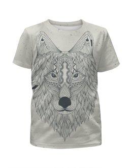 """Футболка с полной запечаткой для мальчиков """"Волчий выбор"""" - арт, рисунок, волк, с волком, денис гесс"""