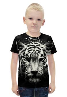 """Футболка с полной запечаткой для мальчиков """"Бенгальский тигр"""" - животные, тигр"""