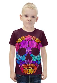 """Футболка с полной запечаткой для мальчиков """"Skull Art"""" - skull, череп, цветы, черепа, skulls"""