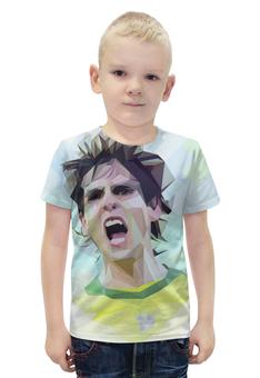 """Футболка с полной запечаткой для мальчиков """"Футбольная мозайка Кака"""" - футбол, арт, бразилия, кака"""