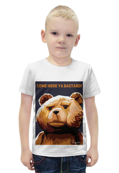 """Футболка с полной запечаткой для мальчиков """"Мишка Тед"""" - медведь, мишка, попарт, третий лишний, тэд"""