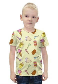 """Футболка с полной запечаткой для мальчиков """"Мороженки"""" - лето, еда, сладости, мороженное, рожок"""