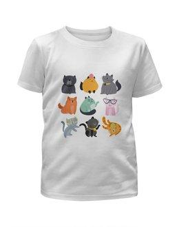 """Футболка с полной запечаткой для мальчиков """"Цветные кошки"""" - кот, кошка, животные, котята"""