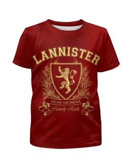 """Футболка с полной запечаткой для мальчиков """"Игра Престолов. Дом Ланнистеров"""" - игра престолов, game of thrones, ланнистеры, house lannister, дом ланнистеров"""