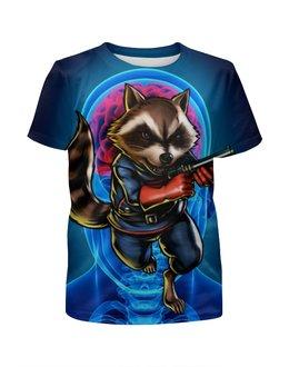 """Футболка с полной запечаткой для мальчиков """"Стражи Галактики: Реактивный Енот"""" - marvel, стражи галактики, реактивный енот, rocket raccoon, guardians of the galaxy"""