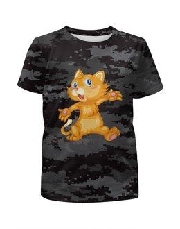 """Футболка с полной запечаткой для мальчиков """"Рыжий кот"""" - кот, кошка, животные, котёнок, камуфляж"""