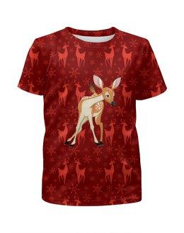 """Футболка с полной запечаткой для мальчиков """"Оленёнок и олени"""" - животные, олени, оленёнок"""