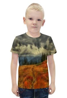"""Футболка с полной запечаткой для мальчиков """"Горный пейзаж"""" - лес, деревья, природа, горы, туман"""