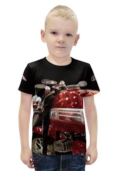 """Футболка с полной запечаткой для мальчиков """"Мотоцикл JAWA"""" - мотоцикл ява, с явой, яваолд, яваклуб, ява нахаляву"""
