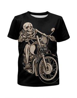 """Футболка с полной запечаткой для мальчиков """"Skeleton Biker"""" - skeleton, скелет, мотоцикл, байкер, biker"""