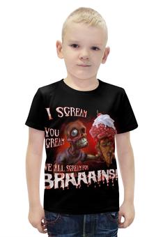 "Футболка с полной запечаткой для мальчиков ""Zombie Art"" - zombie, зомби, мозги, мороженое, зомби арт"