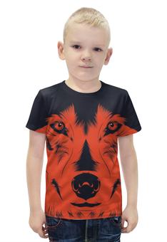 """Футболка с полной запечаткой для мальчиков """"Волк Красный"""" - рисунок, волк, wolf, red wolf"""