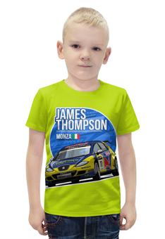 """Футболка с полной запечаткой для мальчиков """"James Thompson """" - гонки, ралли"""
