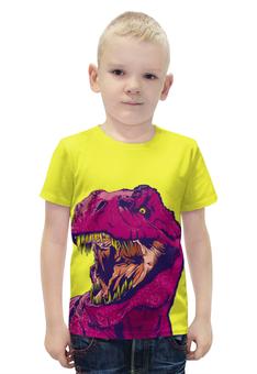 """Футболка с полной запечаткой для мальчиков """"Тиранозавр"""" - динозавр, тиранозавр, рекс"""