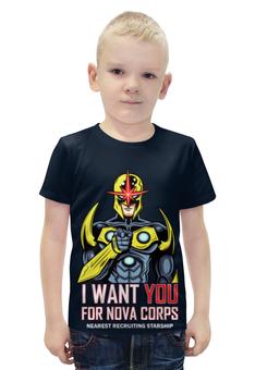"""Футболка с полной запечаткой для мальчиков """"I want you for nova corps"""" - воин, супергерой"""